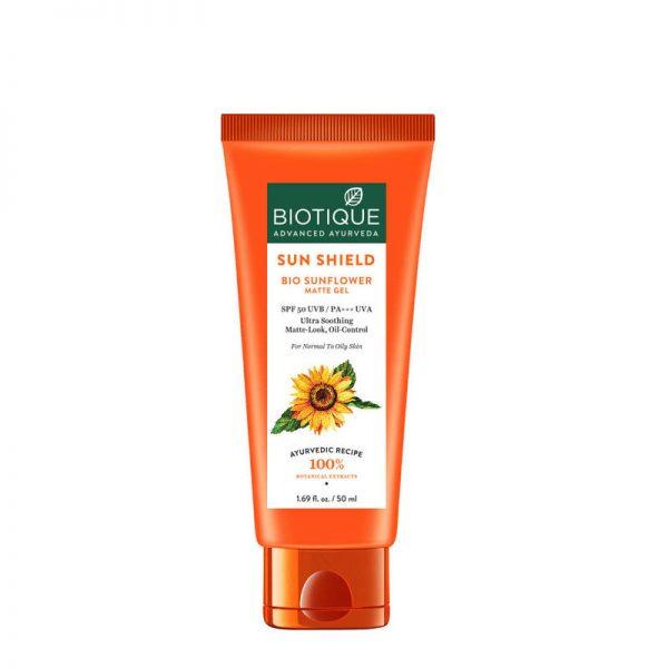 Biotique Bio Sunflower Matte Gel Sunscreen SPF 50 -UVB/PA+++UVA (50ml)